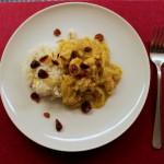 Kylling med spidskål,tranebær og mandelris