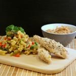 Lynstegt kylling med peanutsauce